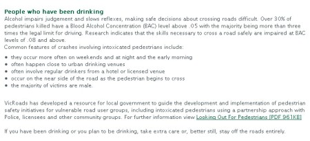 VicRoads Pedestrian Safety Advice Alcohol as at 20101026